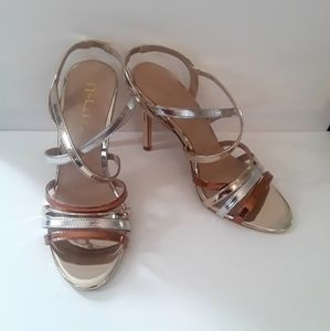 Nicole by Nicole Miller Strappy Gold/Silver Heels